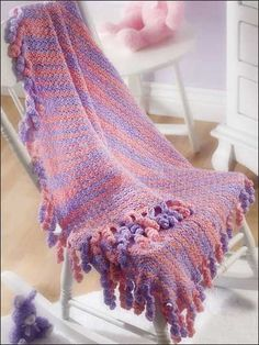 Swirly-Fringed Blanket By Karen Kay - Free Crochet Pattern With Website Registration - (free-crochet)