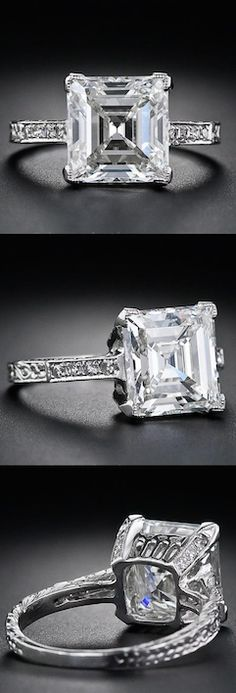 *3.46 Carat Edwardian Carré Diamond Ring, This beautiful, original Edwardian diamond ring, circa 1910, gleams with a gorgeous square step-cut, or Carré cut (an emerald-cut, diamond without cut corners),The diamond is elegantly presented in a finely handcrafted platinum setting with a geometric (early-Art Deco) gallery with tiny twinkling diamonds set down the shoulders and enlivening the the four 'V' shape prongs.