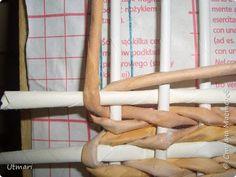Поделка изделие Плетение Коробок с плетёным дном Продолжаю учиться Идея с удобными стоячками Трубочки бумажные фото 14
