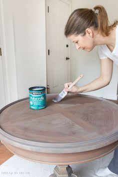 I LOVE Minwax's Polycrylic as a top coat to protect - it doesn't yellow like other protective coats can!