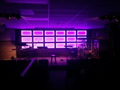 Jason Guddat from Crossroads Foursquare Church in Rochester, WA brings us this glowing grid of a stage design idea. Dmx Lighting, Stage Lighting, Auditorium Design, Stage Background, Church Stage Design, Kids Church, Church Ideas, Church Building, Stage Decorations
