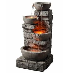Teamson Peaktop Outdoor Stacked Stone Tiered Bowls Fountain with LED Lights | Overstock.com Shopping - The Best Deals on Outdoor Fountains