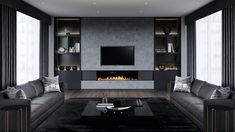 Inspiring 12 Elegant Black Living Room Design Idea For More Enchanting There is no harm in presenting a different atmosphere to the guest room. The living room can look luxurious and stylish with the presence of dark furn. Living Room With Fireplace, Living Room Grey, Living Room Modern, Living Room Interior, Living Room Designs, Living Room Decor, Small Living, Cozy Living, Modern Wall