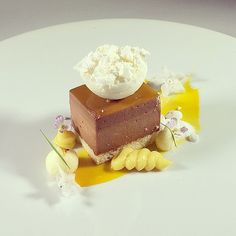Hazelnut Dacquiose, Chocolate Mousse, Chocolate Cremeux , Passion Fruit Jelly, Coconut Sorbet, Passion Fruit Cremeux, Coconut Meringue #theartofplating #chefstalk by Pastry Chef Antonio Bachour, via Flickr