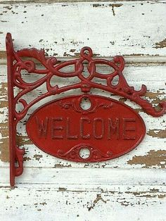Red Cast Iron Welcome