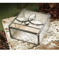 J devlin glass art jeweled top- vintage and champagne glass box