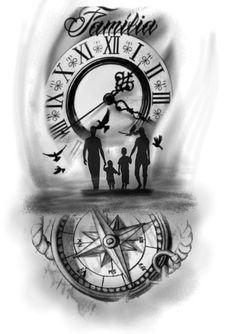 Family Tattoos For Men, Family Tattoo Designs, Hand Tattoos For Guys, Dad Tattoos, Time Tattoos, Tattoo Designs Men, Family Sleeve Tattoo, Clock Tattoo Sleeve, Forearm Sleeve Tattoos