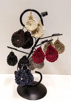 Crochet Socks Pattern, Crochet Jewelry Patterns, Crochet Earrings Pattern, Big Earrings, Etsy Earrings, Earrings Handmade, Drop Earrings, Crochet Braids Marley Hair, Crochet Ripple Afghan