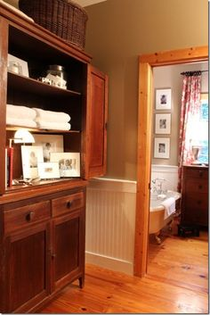 Love the white beadboard, Pine trim and painted walls. Beadboard on lower half.