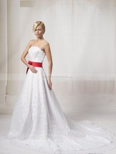 Allover Lace Strapless A Line Bridal Gown with Sash 0113857