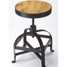 Wide iron straps make this Butler Specialty Industrial Chic 26 in. Adjustable Bar Stool a distinctive seating option for your bar. Its round mango wood. Industrial Living, Rustic Industrial, Industrial Furniture, Rustic Loft, Rustic Decor, Rustic Farmhouse, Farmhouse Style, Wood Bar Stools, Counter Stools