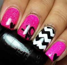 Rose, Noir et Blanc avec XO, Heart, et Chevron Nail Art Design - Ongles 03 Fabulous Nails, Gorgeous Nails, Pretty Nails, Get Nails, Fancy Nails, Pink Nails, White Nails, Nail Art Designs, Nails Polish