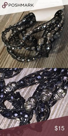Gothic black silver layered skull bracelet New goth gothic skull layered black bracelet.    ~ Bundle up & save on shipping! Check out my other listings!  ~ I am open to reasonable offers.  ~I do my best to describe each item thoroughly.  ~I ship same day or next day.  ~ I do not hold items.  ~Not responsible for incorrect sizing. I go by what the tag says its up to the buyer to know their size. Jewelry Bracelets