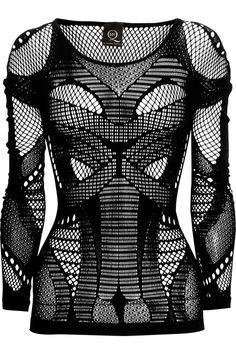 McQ Alexander McQueen|Open-knit paneled stretch top