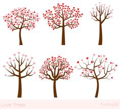 Love tree clipart set, Wedding tree clip art, Valentine tree clipart, Family pink red hearts digital tree graphic, Save the date clipart