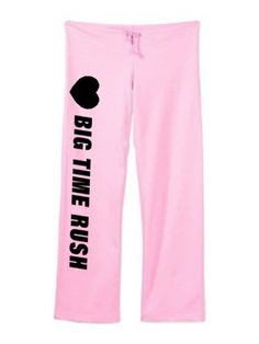"""Big Time Rush Cute Sweatpants Pink Size Large by Mixapparelusa. $32.00. 7.5 ounce. Bella. Size large (inseam 32.5"""" waist 19"""" relaxed) junior fit. 100% pre-shrunk combed ring-spun cotton. Coverstitched drawstring waistband, straight wide open bottom leg. A perfect pair of sweatpants for the music fan. A super quality and very comfortable product sold by us.....mixapparelusa."""