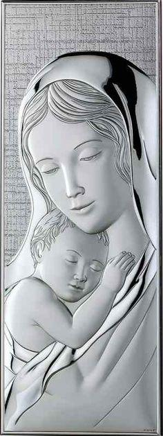 Srebrny obrazek Matka Boska z Dzieciątkiem, doskonały prezent dla młodej pary z okazji ślubu. #komunia #chrzciny #rocznica