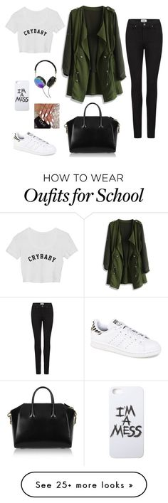 School outfit (monday) by hopelessdreamer047 on Polyvore featuring мода, Chicwish, Paige Denim, Givenchy, Frends, LAUREN MOSHI и adidas