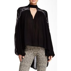 Free People Sweet Fantasy Blouse ($80) ❤ liked on Polyvore featuring tops, blouses, black, free people tops, free people blouse, black long sleeve blouse, gauze blouse and black beaded top