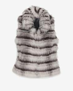 Yves Salomon EXCLUSIVE Striped Arctic Fox Vest