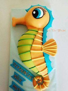 so cute! | Deniz atı pastası, seahorse, seahorse cake, deniz atı cake