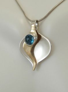 Rose Cut Blue Topaz Calla Lily Pendant  14kt Gold by LauraRoberson, $320.00