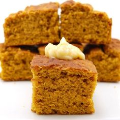 +Pumpkin Cornbread - For breakfast, or a must with chili! Moist pumpkin corn bread sweetened with cinnamon, nutmeg and molasses then smeared with honey butter, an excellent accompaniment to any fall meal. Pumpkin Cornbread Recipe, Sweet Cornbread, Pumpkin Recipes, Fall Recipes, Holiday Recipes, Vegan Pumpkin, Spiced Pumpkin, Pumpkin Bars, Pumpkin Pumpkin