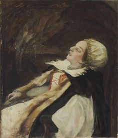 Countess Elizabeth Báthory de Ecsed (1560-1614) has been labeled the most prolific female serial killer in history and is remembered as the 'Blood Countess'. The present lot is perhaps a study for a larger painting that was destroyed during World War II.  István Csók (Hungarian, 1865-1961) Countess Elizabeth Báthory de Ecsed