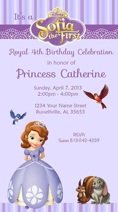 Sophia the First Princess Invitations by DesignsbySuzan on Etsy, $0.50