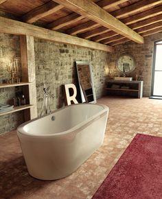 Bañera exenta #piedra #alfombra