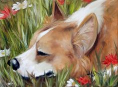 pembroke welsh corgi smelling the flowers, portrait, dog art, gift ideas, wall art, home decor, by Mary Sparrow Smith from Hanging the Moon