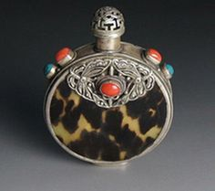 Old Silver Snuff Bottle with red coral and Turquoise inlaid