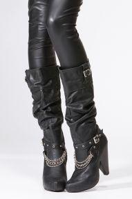 Cowgirl Riding Biker Boots Nine West Takedown Pebbled Grain Black ...