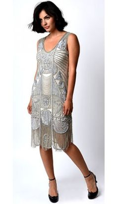 "1920s ""The Bosley"" Silver Beaded Flapper with Beaded Fringe Dress"