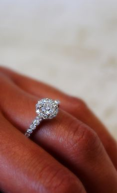 Brilliant Round Cut Diamond Halo Ring With White Diamonds In 14k White Gold