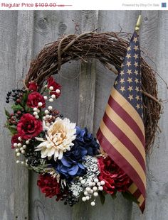 Americana Wreath Patriotic Door Wreath by NewEnglandWreath on EtsyAmericana Wreath, Patriotic & of July Crafts; I like this one even though I have already made a different Patriotic Amazing July Wreaths For Your Front Door - DigsDigsIndepen Patriotic Crafts, Patriotic Wreath, July Crafts, Americana Crafts, Patriotic Party, Wreath Crafts, Diy Wreath, Wreath Ideas, Door Wreaths