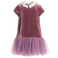 Fendi Pink Velvet Dress with 'FF' Zucca Print Tulle Skirt at Childrensalon.com