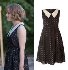 About Time movie: Mary's (Rachel McAdams) black and white print, pointed collar dress by Vero Moda #abouttime #getthelook #rachelmcadams