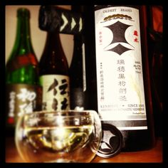 Special treat tonight - Mizuho Kuromatsu Kenbishi junmai, from the Kenbishi kura in Hyogo...one of the oldest sakes still in production, dating back to 1505. (Photo by Bannister Bergen)