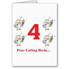 12 days four calling birds greeting cards