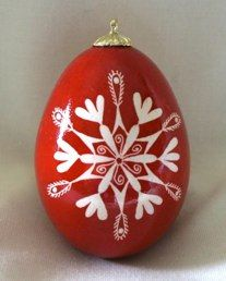 Snowflake Pysanky Scarlets and Reds