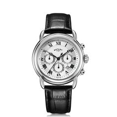 Rotary Watches, Roman Numerals, Canterbury, Stainless Steel Case, Chronograph, Paradise, Quartz, Black Leather, Hands
