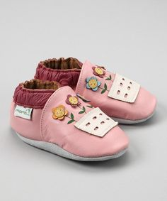 Take a look at this MOMO Baby Pink Flowerpot Booties by This Little Piggy: Infant Shoes on #zulily today!
