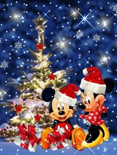 Use links below to save image. Disney Merry Christmas, Merry Christmas Pictures, Christmas Scenery, Minnie Mouse Christmas, Christmas Cartoons, Christmas Art, Merry Christmas Animation, Holiday Pictures, Mickey Mouse Wallpaper