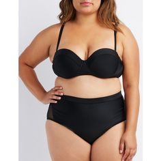 Charlotte Russe Mesh-Trim Push-Up Bikini Top ($13) ❤ liked on Polyvore featuring swimwear, bikinis, bikini tops, black, balconette bra, push up shelf bra, plus size swim tops, plus size bikini tops and plus size swimwear