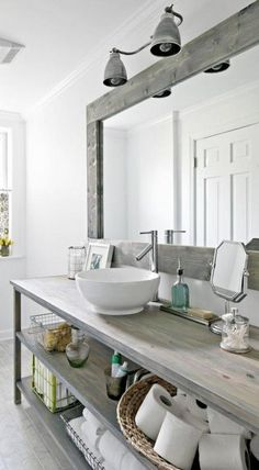 Gray stained wood. Great bathroom inspo