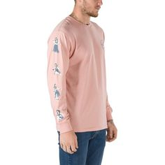 Vans Vintage Hula Long Sleeve T-Shirt ($26) ❤ liked on Polyvore featuring men's fashion, men's clothing, men's shirts, men's t-shirts, mens longsleeve shirts, mens long sleeve t shirts, mens vintage shirts, mens cotton shirts and mens long sleeve shirts