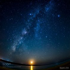 """The moon and Milky Way by AOUEI from http://500px.com/photo/202235009 - The moon sinks in the west horizon. The Milky Way rises above the sky. The Yaeshima archipelago of the Okinawa people 's islands including Miyakojima is a trade - like wind route. It is suitable for the observation of stars in the night sky. At Ishigakijima and Taketomi Town next to Miyakojima we aim to certify """"Dark Sky Place (The International Dark Sky Places conservation program)"""" for the first time in Japan. Shooting…"""