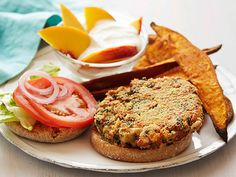 Bean-Kale Burgers with Sweet Potato Wedges #myplate #letsmove #protein #veggies #grains #dairy