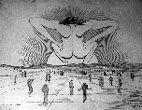 1937 dessin - homme nu accroupi face au soleil couchant entouré de petits hommes marchants